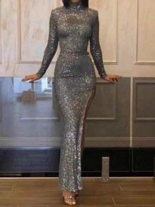 Silver Sequin Band Collar Long Sleeve Slit Glitter Sparkly Birthday Party NYE Prom Maxi Dress