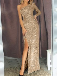 Apricot One-shoulder Slit Sequin Sparkly Bodycon Long Sleeve Elegant Maxi Dress