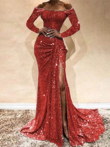 Red Sequin Off Shoulder Long Sleeve Ruched Slit Mermaid Glitter Sparkly Birthday Party Prom Maxi Dress