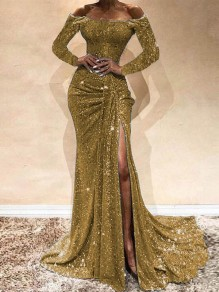 Golden Sequin Off Shoulder Long Sleeve Ruched Slit Mermaid Glitter Sparkly Birthday Party Prom Maxi Dress