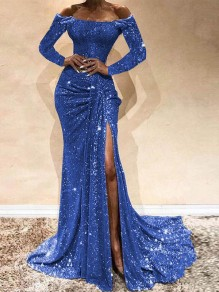Blue Sequin Off Shoulder Long Sleeve Ruched Slit Mermaid Glitter Sparkly Birthday Party Prom Maxi Dress