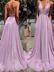 Light Purple Sequin Cross Back V-neck Sleeveless Mermaid Glitter Sparkly Birthday Party Prom Maxi Dress