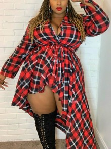Red-Black Plaid Print Buttons Belt Turndown Collar Long Sleeve Plus Size Christmas Maxi Dress