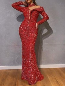 Red Cut Out Sequin Halter Neck Mermaid NYE Banquet Birthday Party Maxi Dress