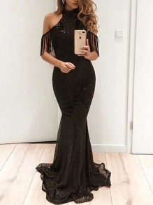 Black Patchwork Sequin Glitter Sparkly Tassel Lace Cut Out Band Collar Mermaid Flapper Party Maxi Dress