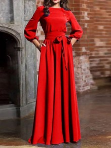 Red Sashe Round Neck Long Sleeve Lantern Sleeve Elegant Maxi Dress
