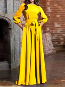 Yellow Sashe Round Neck Long Sleeve Lantern Sleeve Elegant Maxi Dress