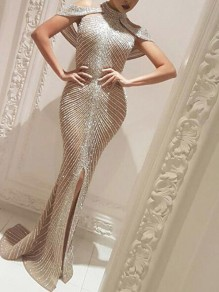 Champagne Patchwork Rhinestone Irregular Slit Cape Mermaid Bedazzled Sparkly NYE Banquet Party Maxi Dress