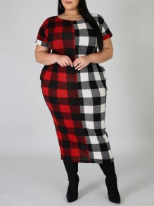 Black-Red Plaid Pockets Round Neck Short Sleeve Plus Size Christmas Casual Maxi Dress