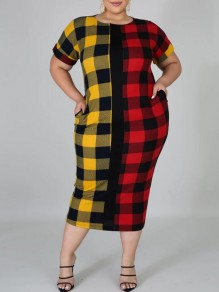 Yellow-Red Plaid Pockets Round Neck Short Sleeve Plus Size Christmas Casual Maxi Dress