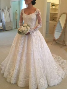 White Patchwork Lace Grenadine Elegant Square Neck Long Sleeve Wedding Maxi Dress