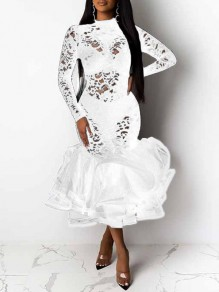 White Patchwork Lace Cut Out Grenadine Band Collar Long Sleeve Ruffle Tutu Mermaid Maxi Dress