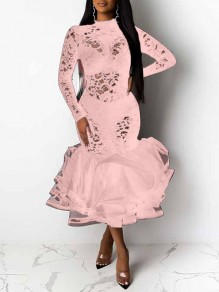 Pink Patchwork Lace Cut Out Grenadine Band Collar Long Sleeve Ruffle Tutu Mermaid Maxi Dress