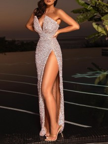 Silver Sequin Bandeau V-neck Sleeveless Slit Mermaid Prom Maxi Dress