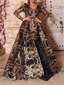 Black Golden Sequin Print V-neck Puff Sleeve Big Swing Mermaid Prom Maxi Dress