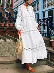 White Patchwork Cut Out V-neck Long Sleeve Fashion Maxi Dress