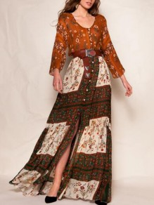 Brown Tribal Floral Pattern Deep V-neck Single Breasted Distressed Boho Bohemian Maxi Dress