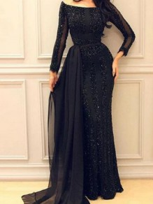 Black Patchwork Grenadine Sequin Irregular Mermaid Sparkly Glitter Banquet Party Maxi Dress