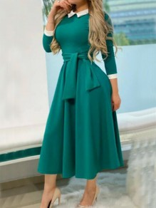 Green-White Patchwork Sashes Pockets 3/4 Sleeve Peter Pan Collar Elegant Party Maxi Dress