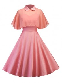 Pink Pleated 2-in-1 Spaghetti Strap Cape Peter Pan Collar Party Going out Midi Dress