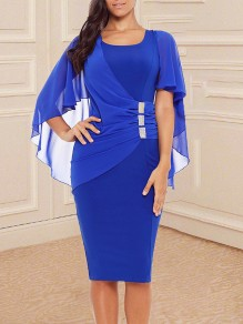 Sapphire Blue Rivet Chiffion Peplum Irregular Grenadine Shawl Round Neck Short Sleeve Elegant Skater Midi Dress