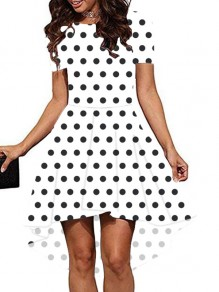 White Polka Dot Print High-Low Round Neck Short Sleeve Party Midi Dress