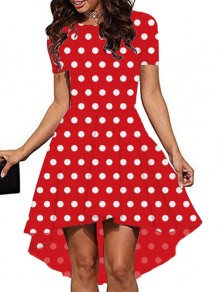 Red Polka Dot Print High-Low Round Neck Short Sleeve Party Midi Dress