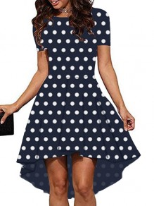 Navy Blue Polka Dot Print High-Low Round Neck Short Sleeve Party Midi Dress
