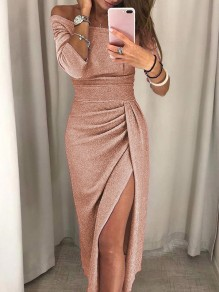Champagne Side Slit Pleated Off Shoulder Bodycon Party Midi Dresse