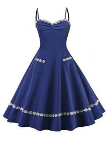 Navy Blue Flowers Embroidery Spaghetti Strap Backless Elegant Cocktail Party Midi Dress