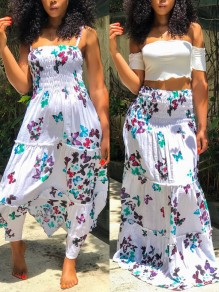 Light Blue Butterfly Print Bandeau Multi Way Bohemian Midi Dress