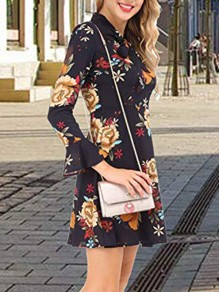 Navy Blue Floral Print Bow Flare Sleeve Going out Midi Dress