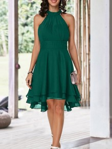 Green Cut Out Draped Halter Neck Sleeveless Backless High-low Bridemaid Prom Midi Dress