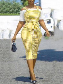 Yellow-White Striped Off Sholder Sashes Banquet Party Overall Midi Dress