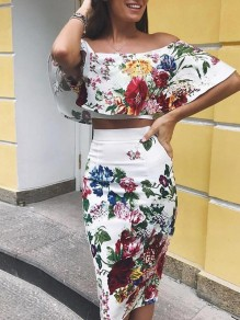 White Floral Print Off Shoulder Two Piece Bodycon Fashion Casual Prom Midi Dress