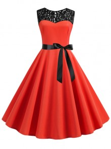 Red Patchwork Lace Sashes Big Swing A-Line Cocktail Party Midi Dress