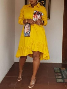 Yellow Figure Turndown Collar Irregular High-low Beading 3/4 Sleeve Bohemian Midi Dress