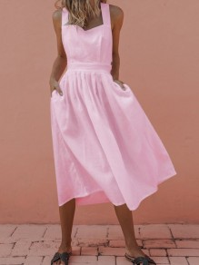 Pink Pockets Cut Out Knot Backless Cross Back Square Neck Cute Party Midi Dress