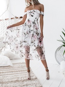 Pink Floral Backless Grenadine Off Shoulder Bodycon Sweet Midi Dres