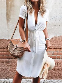 White Single Breasted Pockets Sashes Turndown Collar Short Sleeve Fashion Midi Dress