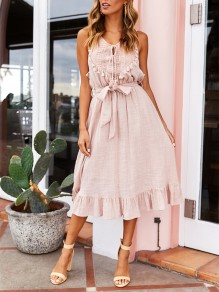 cfa9e6e5d01 Pink Patchwork Lace Belt Tassel V-neck Sleeveless Boho Vacation Midi Dress
