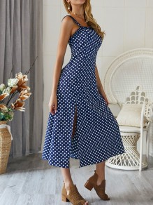 Navy Blue Polka Dot Print Slit Spaghetti Strap Backless Off Shoulder Bohemian Elegant Midi Dress