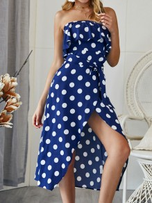 Navy Blue Polka Dot Print Sashes Bandeau Ruffle High-Low Bohemian Midi Dress