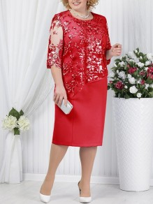 Red Patchwork Lace Embroidery False 2-in-1 Plus Size Round Neck Half Sleeve Cocktail Party Midi Dress