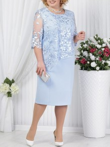 Sky Blue Patchwork Lace Embroidery False 2-in-1 Plus Size Round Neck Half Sleeve Cocktail Party Midi Dress