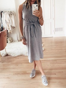 Grey Patchwork Belt Bow Sleeveless Going out Midi Dress