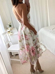 Pink Floral Condole Belt Tie Back Backless Party Midi Dress