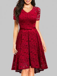 Burgundy Lace Bow V-neck Short Sleeve Cocktail Party Midi Dress