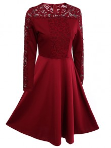 Red Patchwork Lace Round Neck Long Sleeve Party Midi Dress