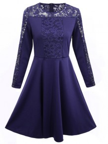 Blue Patchwork Lace Round Neck Long Sleeve Party Midi Dress